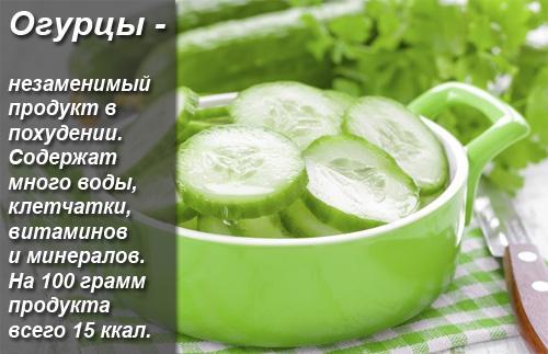 Сколько калорий в огурце свежем без соли. Огурец