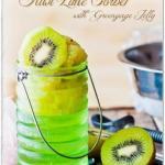 Мятное зеленое желе с сорбетом из киви - летний легкий десерт.