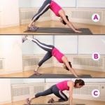 Комплексная тренировка?  15 повторений каждого упражнения, 3-4 подхода.