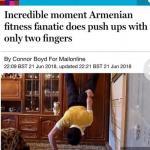 Британское издание Daily Mail о 29-летнем нареке Акопяне из ванадзора.